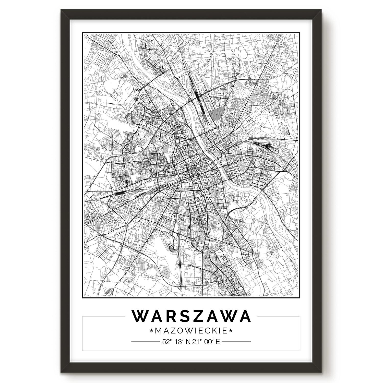 Warszawa Mapa Plakat Dekoredo