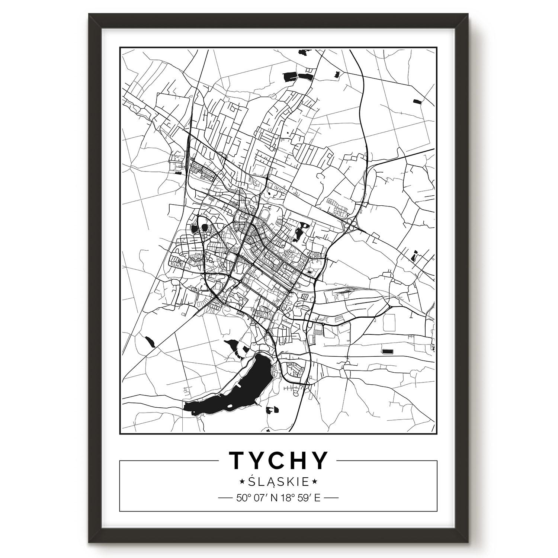 Tychy Mapa Plakat Dekoredo